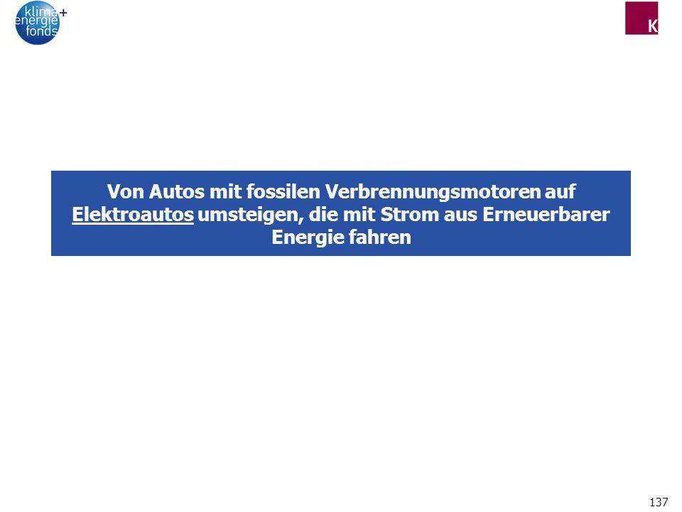 137 Von Autos mit fossilen Verbrennungsmotoren auf Elektroautos umsteigen, die mit Strom aus Erneuerbarer Energie fahren