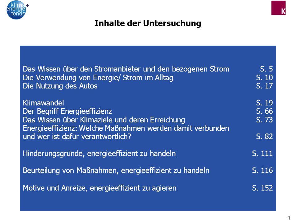 4 Inhalte der Untersuchung Das Wissen über den Stromanbieter und den bezogenen Strom S.