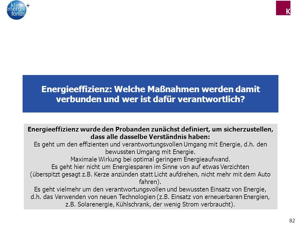 82 Energieeffizienz: Welche Maßnahmen werden damit verbunden und wer ist dafür verantwortlich.