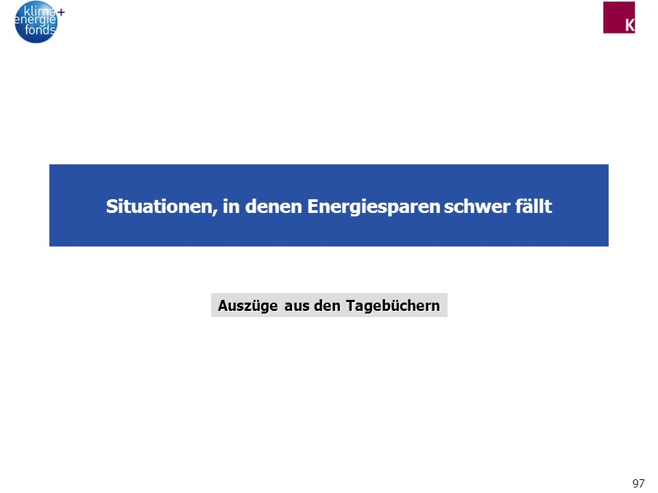 97 Situationen, in denen Energiesparen schwer fällt Auszüge aus den Tagebüchern