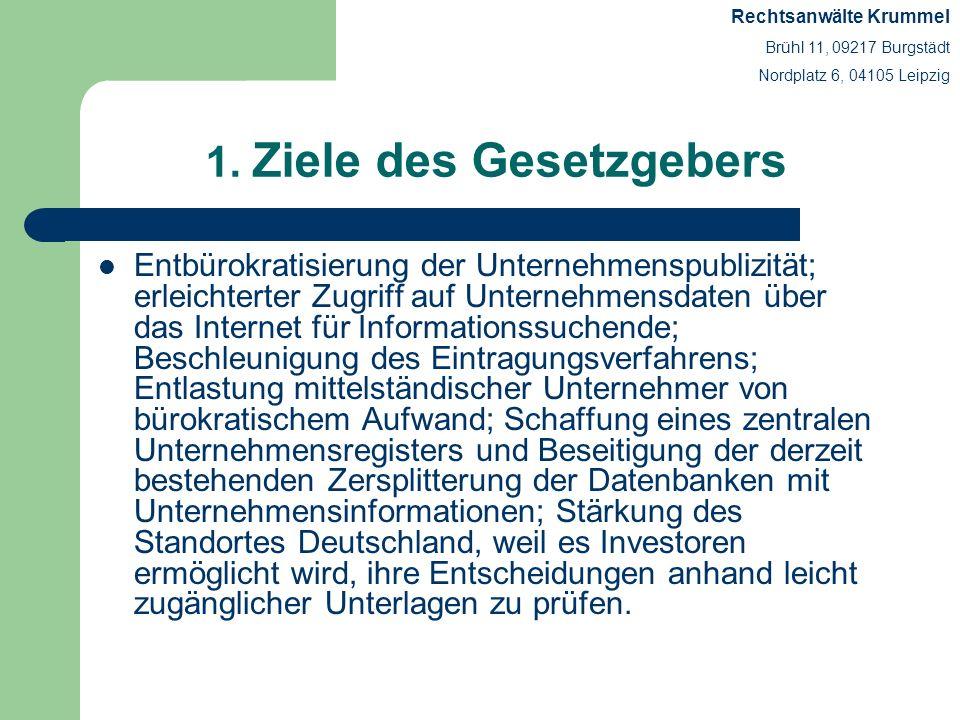 1. Ziele des Gesetzgebers Entbürokratisierung der Unternehmenspublizität; erleichterter Zugriff auf Unternehmensdaten über das Internet für Informatio