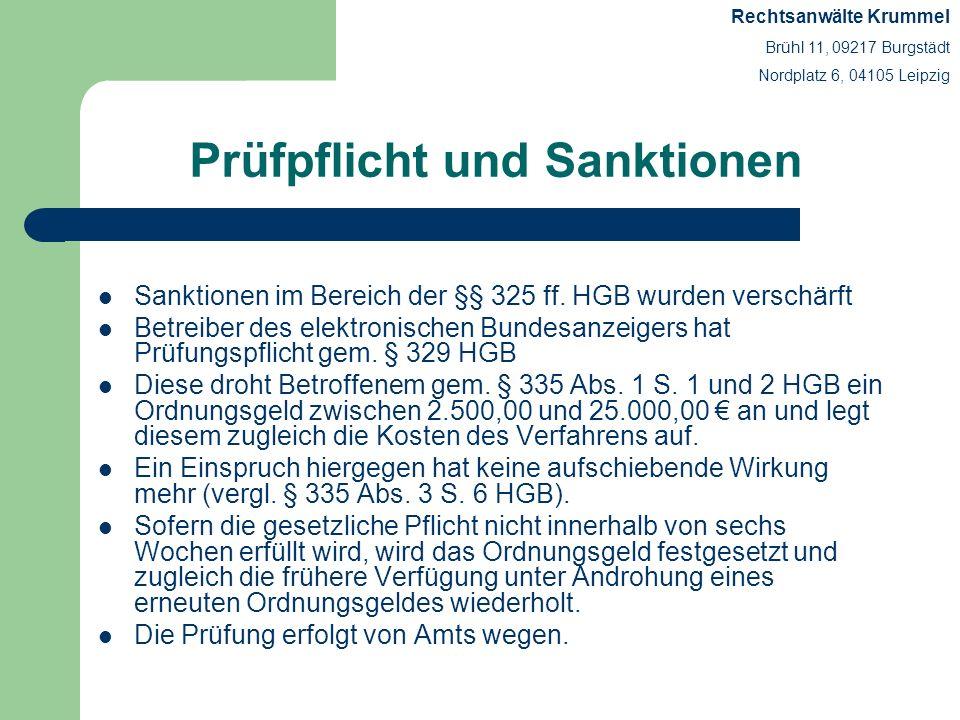Prüfpflicht und Sanktionen Sanktionen im Bereich der §§ 325 ff. HGB wurden verschärft Betreiber des elektronischen Bundesanzeigers hat Prüfungspflicht
