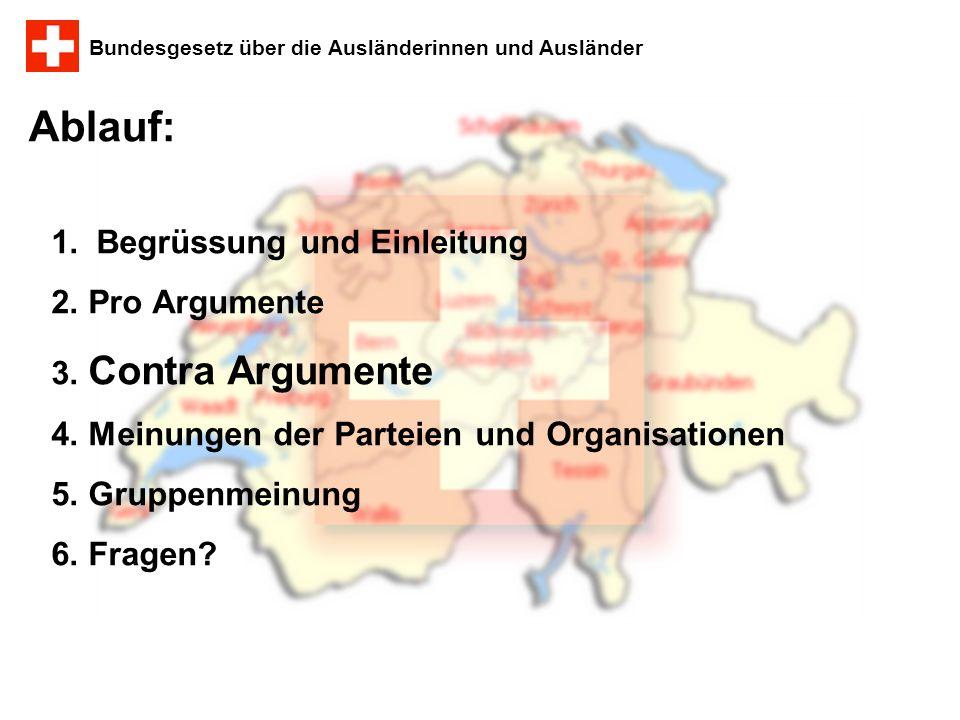 Bundesgesetz über die Ausländerinnen und Ausländer Ablauf: 1. Begrüssung und Einleitung 2. Pro Argumente 3. Contra Argumente 4. Meinungen der Parteien