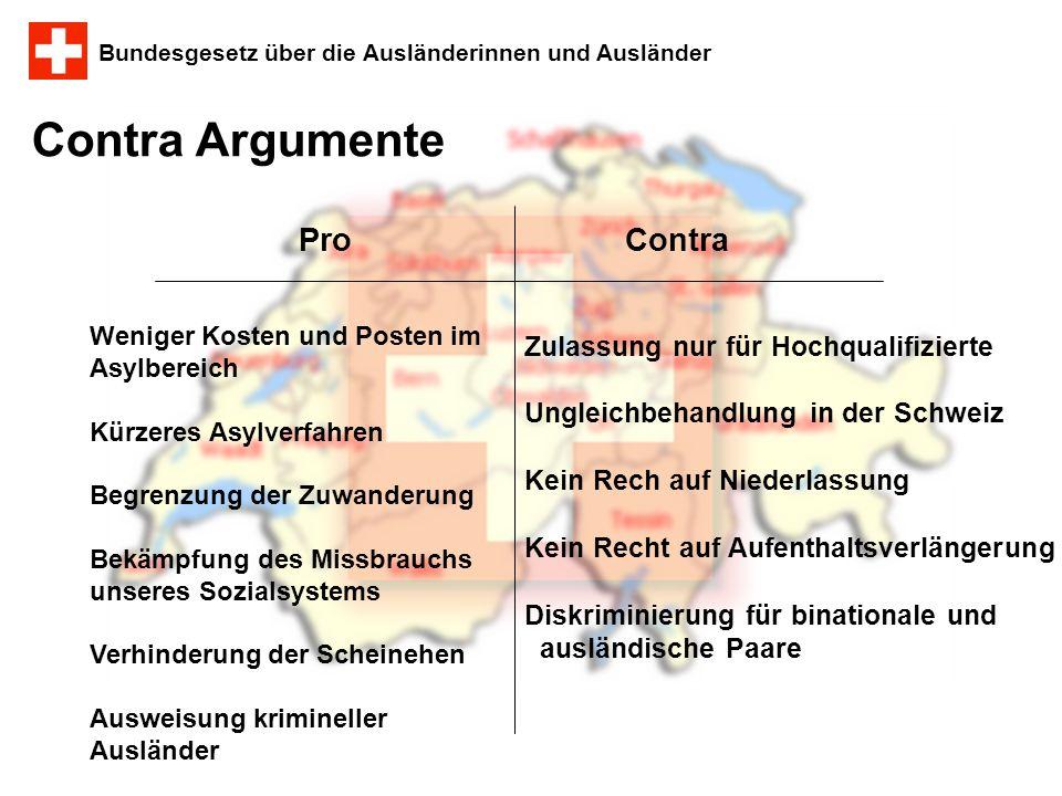 Bundesgesetz über die Ausländerinnen und Ausländer ProContra Contra Argumente Zulassung nur für Hochqualifizierte Ungleichbehandlung in der Schweiz Ke