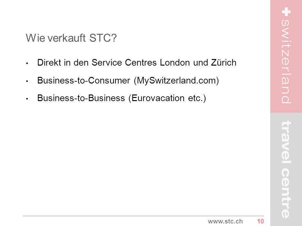 10www.stc.ch Wie verkauft STC? Direkt in den Service Centres London und Zürich Business-to-Consumer (MySwitzerland.com) Business-to-Business (Eurovaca