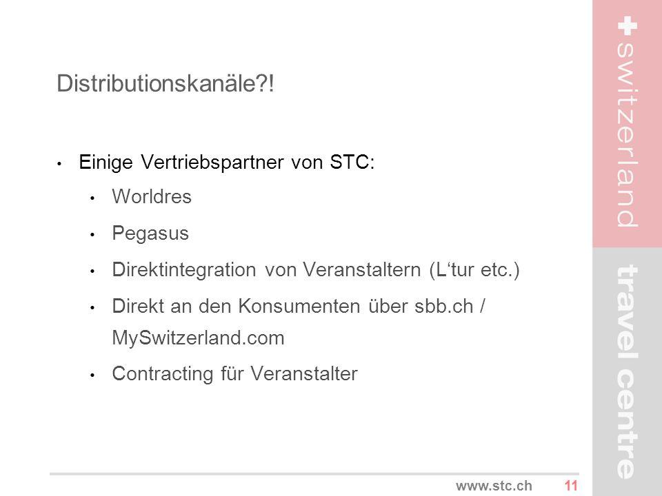 11www.stc.ch Distributionskanäle?! Einige Vertriebspartner von STC: Worldres Pegasus Direktintegration von Veranstaltern (Ltur etc.) Direkt an den Kon