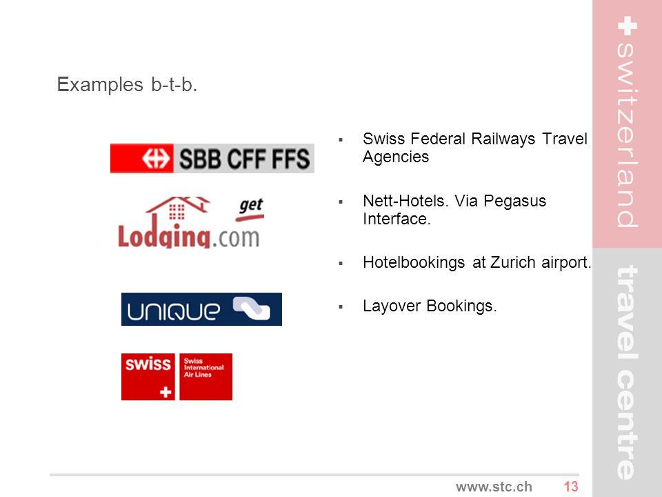 13www.stc.ch Examples b-t-b. Swiss Federal Railways Travel Agencies Nett-Hotels. Via Pegasus Interface. Hotelbookings at Zurich airport. Layover Booki