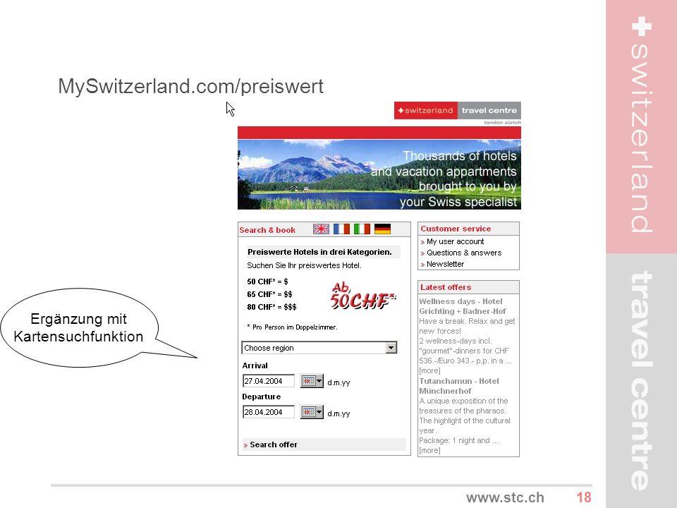 18www.stc.ch MySwitzerland.com/preiswert Ergänzung mit Kartensuchfunktion
