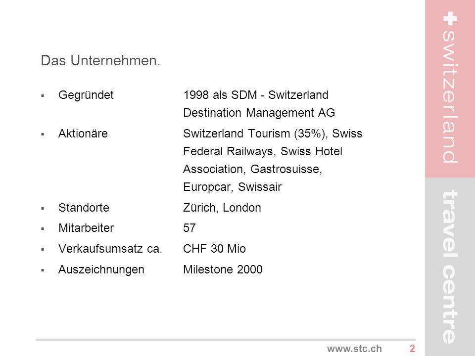 2 Das Unternehmen. Gegründet1998 als SDM - Switzerland Destination Management AG AktionäreSwitzerland Tourism (35%), Swiss Federal Railways, Swiss Hot