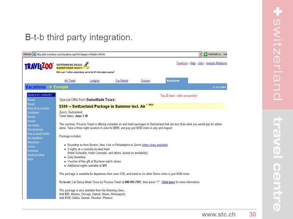 30www.stc.ch B-t-b third party integration.