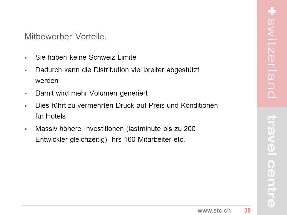 38www.stc.ch Mitbewerber Vorteile. Sie haben keine Schweiz Limite Dadurch kann die Distribution viel breiter abgestützt werden Damit wird mehr Volumen