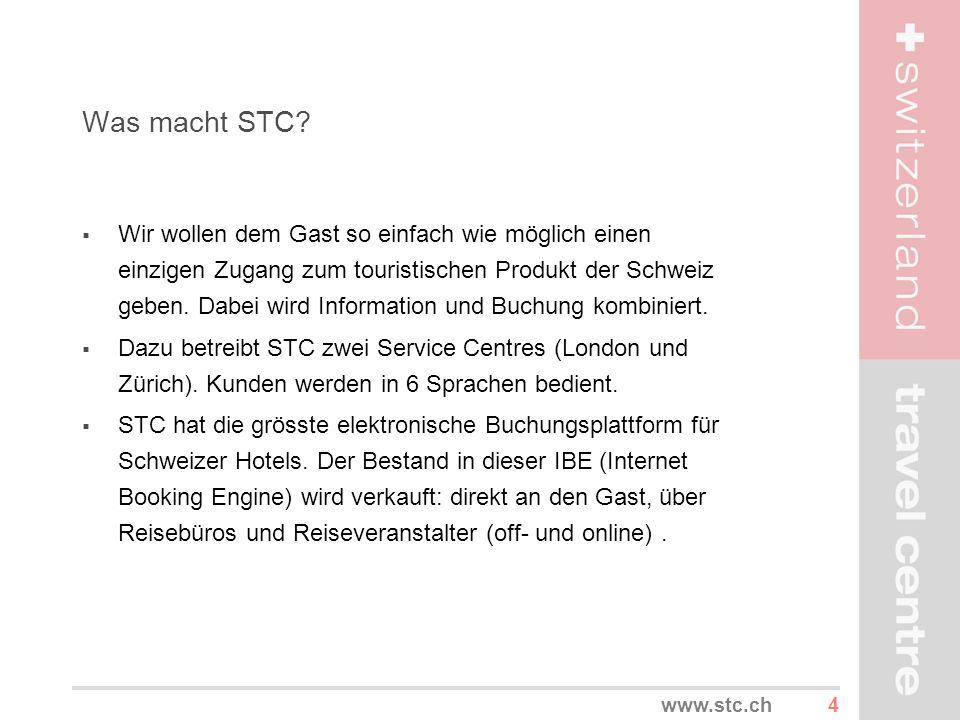 4www.stc.ch Was macht STC? Wir wollen dem Gast so einfach wie möglich einen einzigen Zugang zum touristischen Produkt der Schweiz geben. Dabei wird In