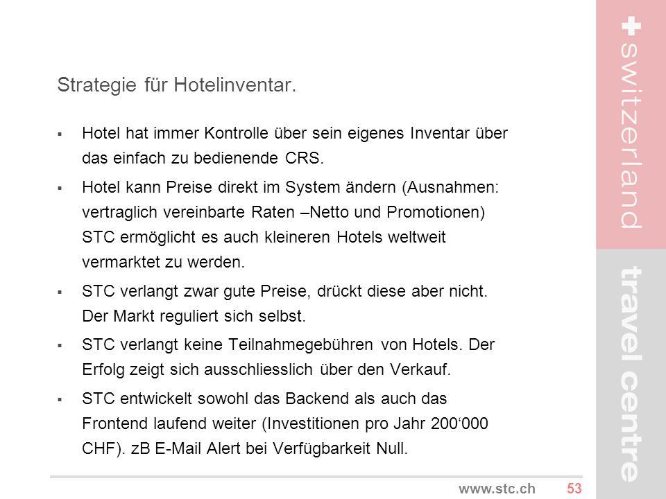 53www.stc.ch Strategie für Hotelinventar. Hotel hat immer Kontrolle über sein eigenes Inventar über das einfach zu bedienende CRS. Hotel kann Preise d