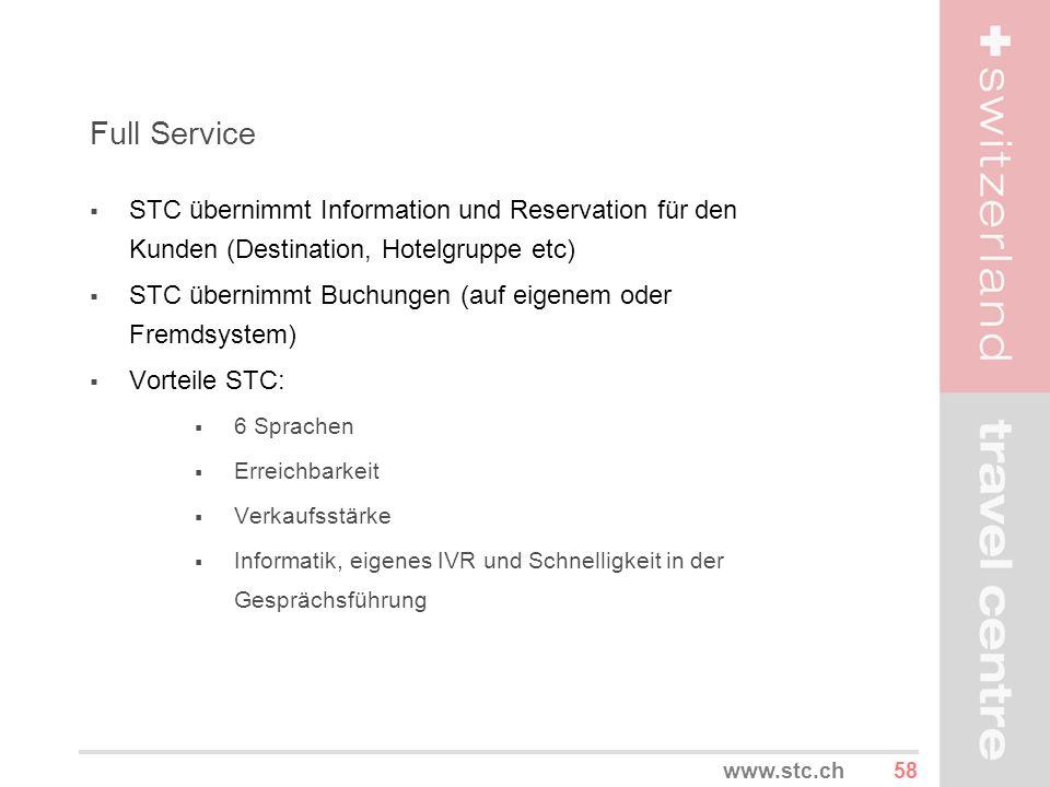 58www.stc.ch Full Service STC übernimmt Information und Reservation für den Kunden (Destination, Hotelgruppe etc) STC übernimmt Buchungen (auf eigenem