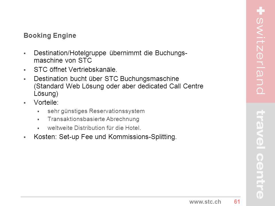 61www.stc.ch Booking Engine Destination/Hotelgruppe übernimmt die Buchungs- maschine von STC STC öffnet Vertriebskanäle. Destination bucht über STC Bu