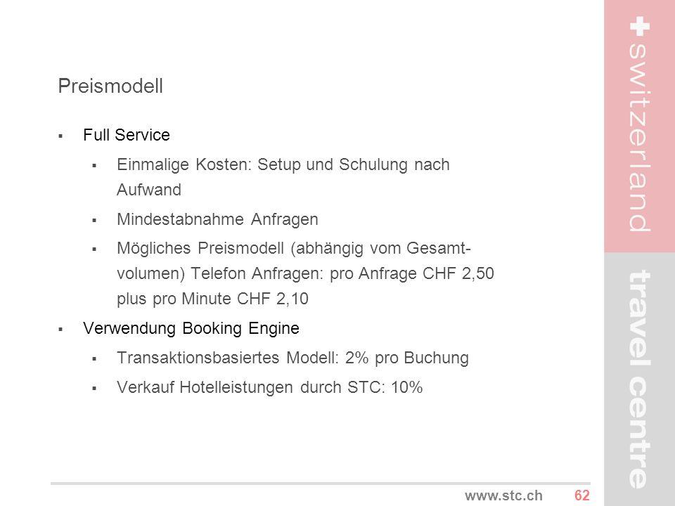 62www.stc.ch Preismodell Full Service Einmalige Kosten: Setup und Schulung nach Aufwand Mindestabnahme Anfragen Mögliches Preismodell (abhängig vom Ge