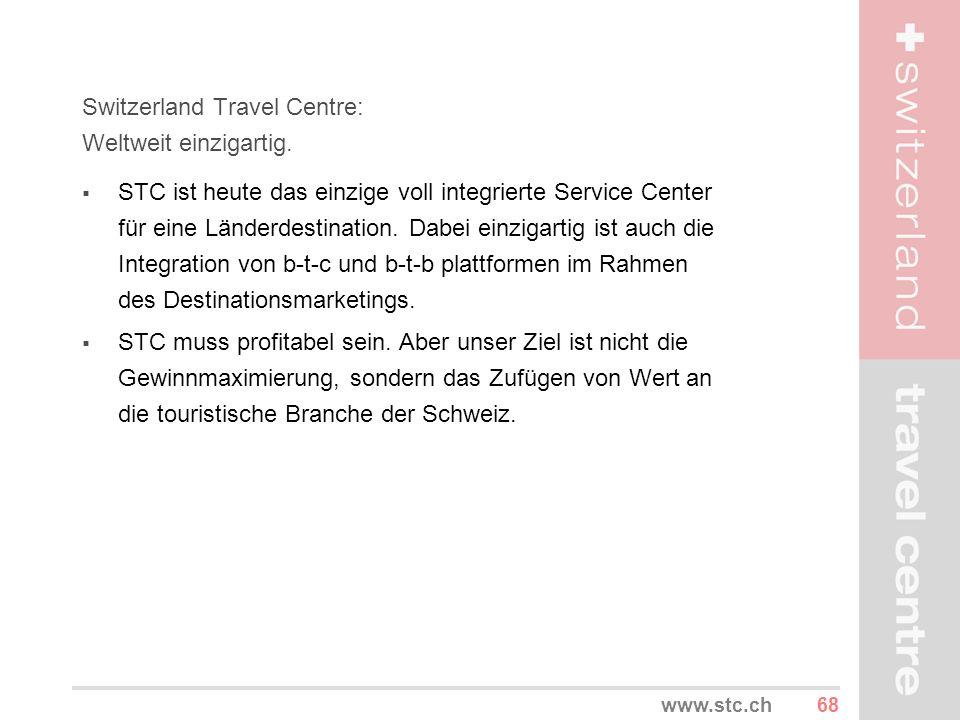 68www.stc.ch Switzerland Travel Centre: Weltweit einzigartig. STC ist heute das einzige voll integrierte Service Center für eine Länderdestination. Da