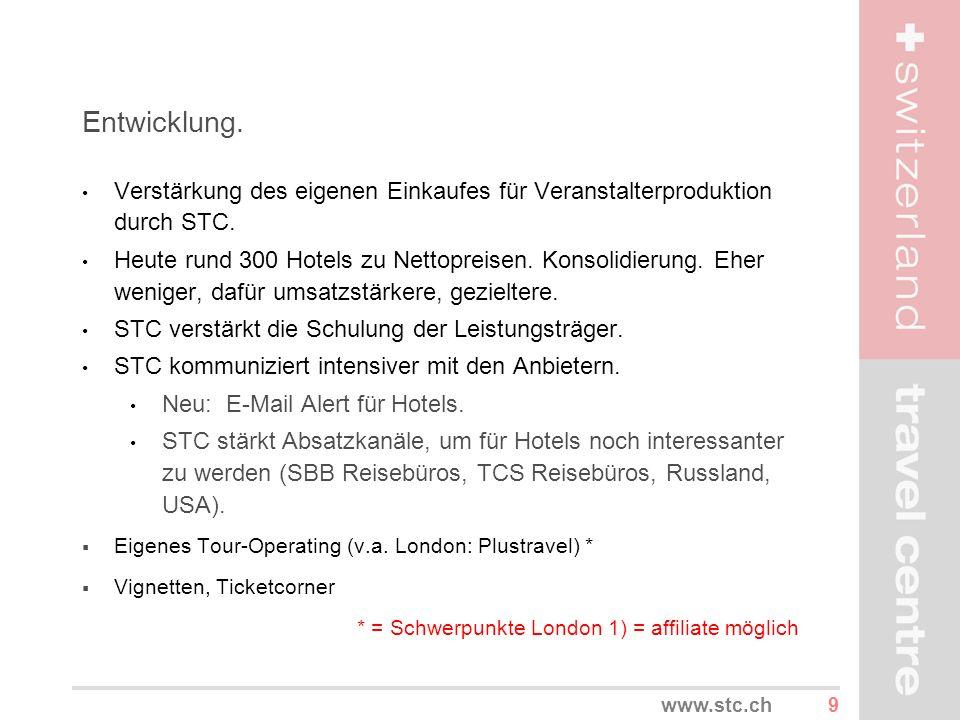 9www.stc.ch Entwicklung. Verstärkung des eigenen Einkaufes für Veranstalterproduktion durch STC. Heute rund 300 Hotels zu Nettopreisen. Konsolidierung
