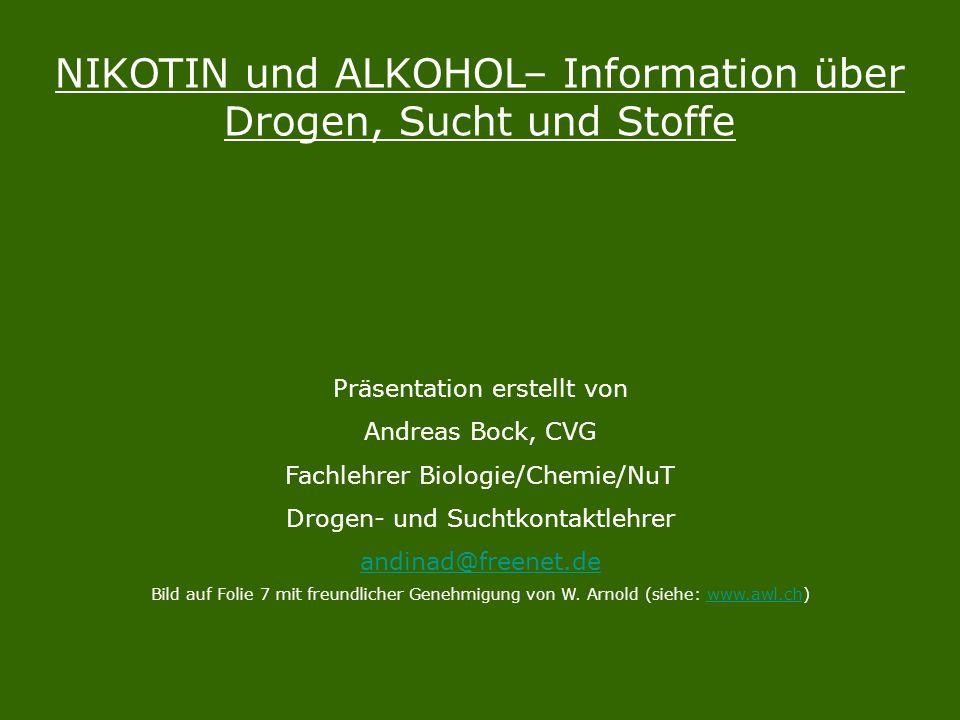 NIKOTIN und ALKOHOL– Information über Drogen, Sucht und Stoffe Präsentation erstellt von Andreas Bock, CVG Fachlehrer Biologie/Chemie/NuT Drogen- und