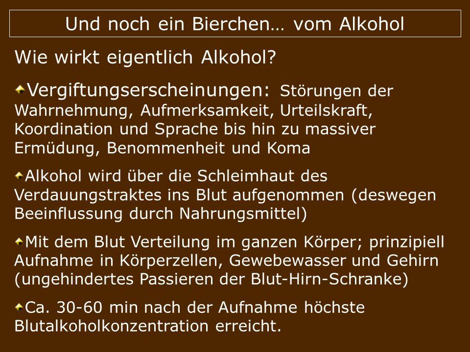 Und noch ein Bierchen… vom Alkohol Wie wirkt eigentlich Alkohol? Vergiftungserscheinungen: Störungen der Wahrnehmung, Aufmerksamkeit, Urteilskraft, Ko