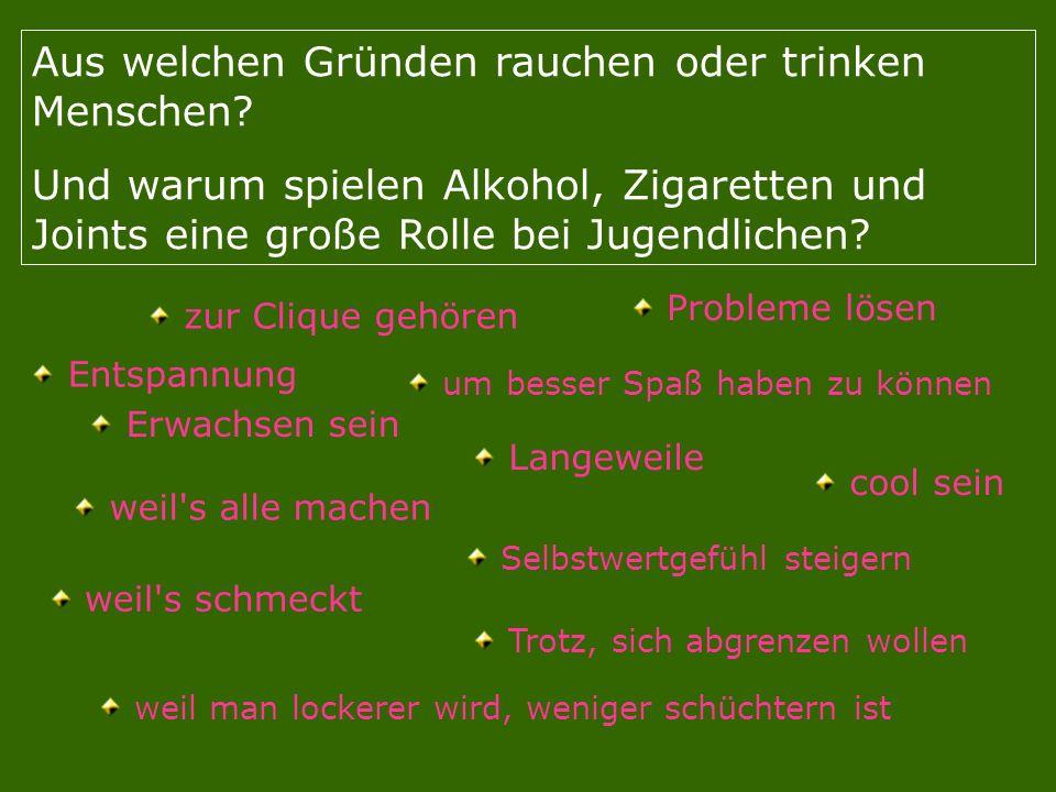 Aus welchen Gründen rauchen oder trinken Menschen? Und warum spielen Alkohol, Zigaretten und Joints eine große Rolle bei Jugendlichen? zur Clique gehö