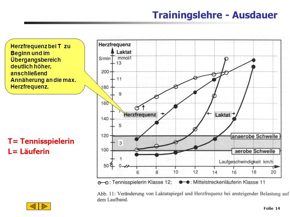 Trainingslehre - Ausdauer Folie 13 Anaerobe Schwelle Maximales Steady State Sauerstoffmenge reicht gerade aus, um Gesamtenergiebedarf zu decken. T= Te