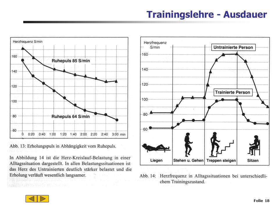 Trainingslehre - Ausdauer Folie 17 Ein gesundheitsorientiertes Ausdauertraining ist ein aerobes Training.