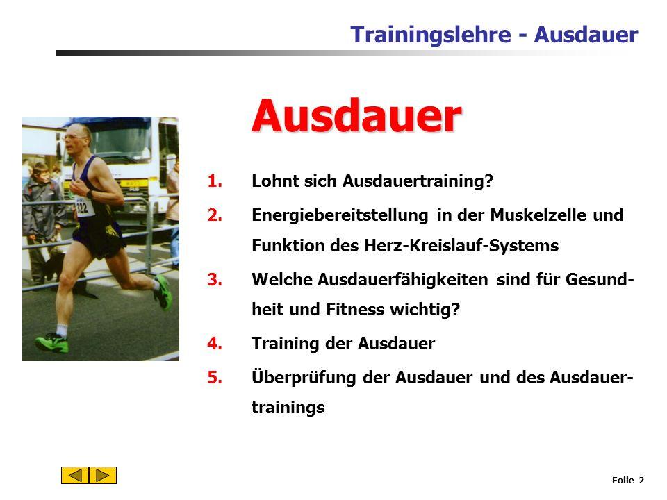 Trainingslehre - Ausdauer Folie 1 Ausdauer Das zentrale Thema der Trainingslehre im Pflichtfach Sport!