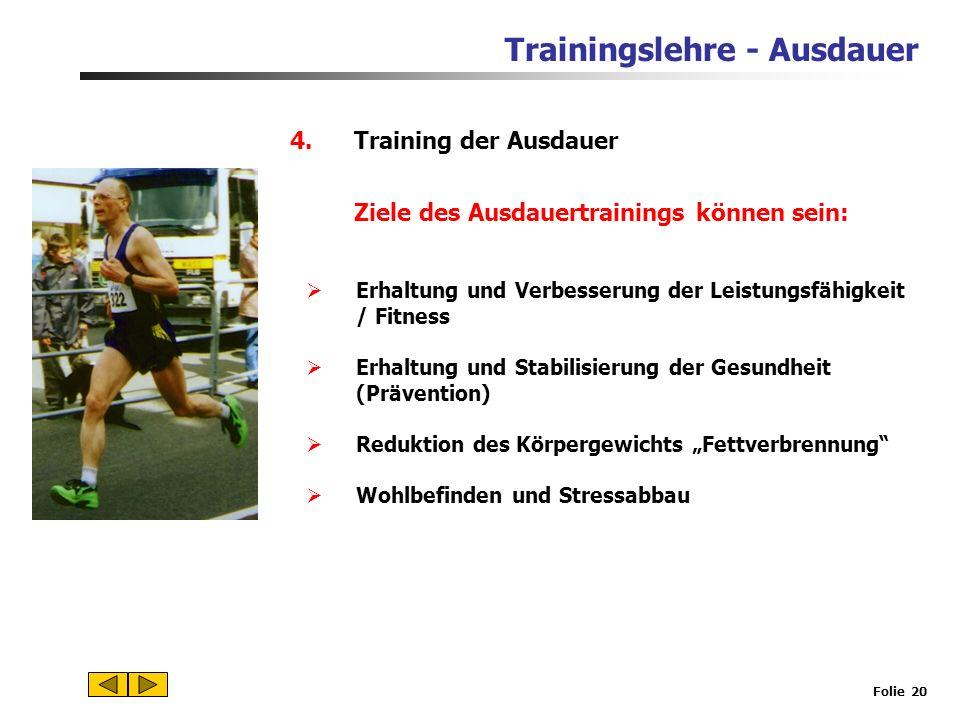 Trainingslehre - Ausdauer Folie 19 3.Welche Ausdauerfähigkeiten sind für Gesundheit und Fitness wichtig? Ebenfalls wichtig ist die Grundlagenausdauer
