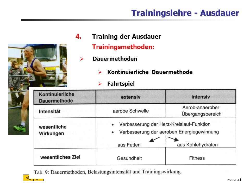 Trainingslehre - Ausdauer Folie 20 4.Training der Ausdauer Ziele des Ausdauertrainings können sein: Erhaltung und Verbesserung der Leistungsfähigkeit