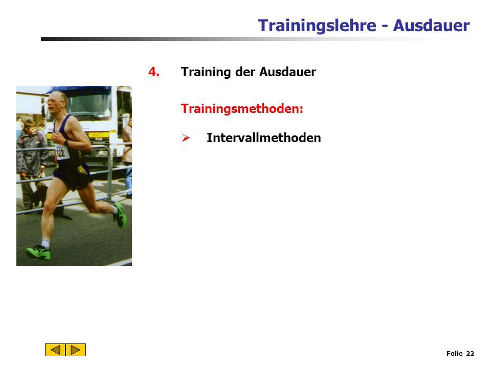 Trainingslehre - Ausdauer Folie 21 4.Training der Ausdauer Trainingsmethoden: Dauermethoden Kontinuierliche Dauermethode Fahrtspiel