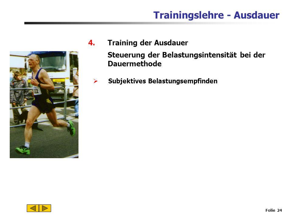 Trainingslehre - Ausdauer Folie 23 4.Training der Ausdauer