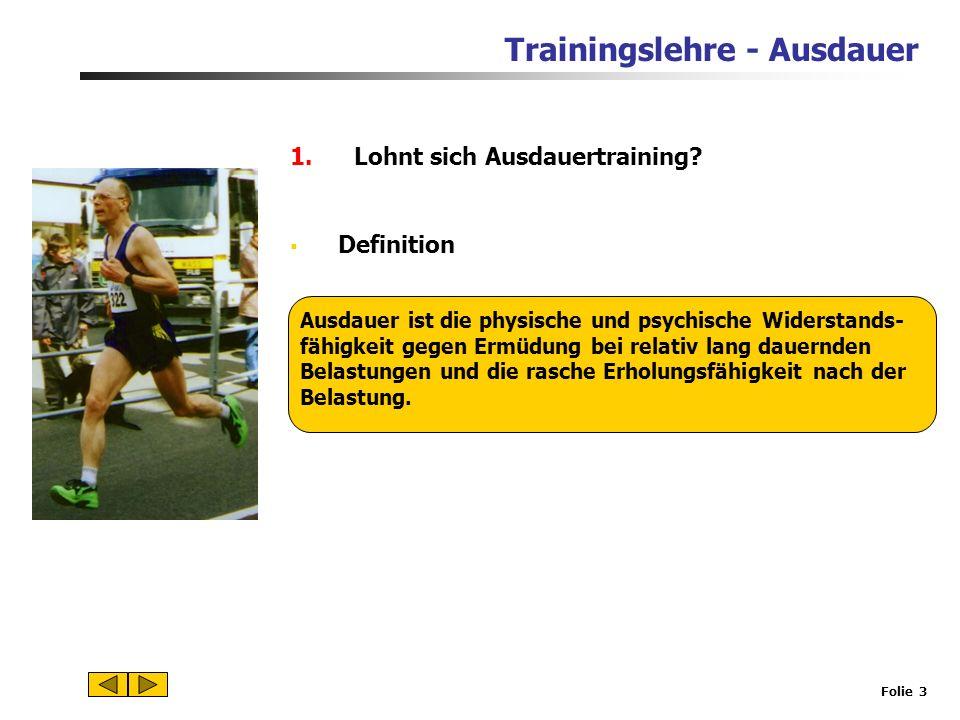 Trainingslehre - Ausdauer Folie 2 1.Lohnt sich Ausdauertraining? 2.Energiebereitstellung in der Muskelzelle und Funktion des Herz-Kreislauf-Systems 3.