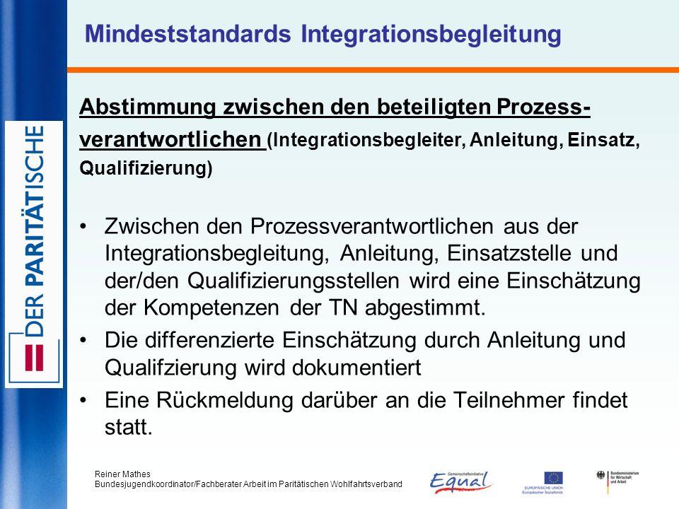 Reiner Mathes Bundesjugendkoordinator/Fachberater Arbeit im Paritätischen Wohlfahrtsverband Mindeststandards Integrationsbegleitung Abstimmung zwische