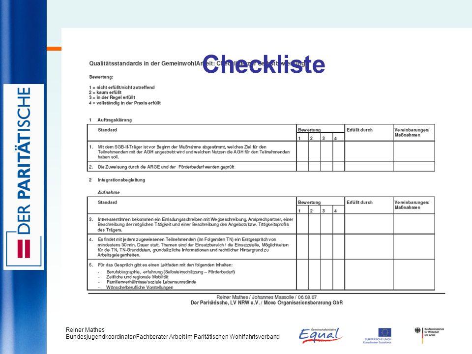 Reiner Mathes Bundesjugendkoordinator/Fachberater Arbeit im Paritätischen Wohlfahrtsverband Checkliste