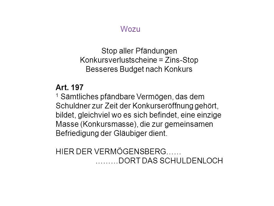 Wozu Stop aller Pfändungen Konkursverlustscheine = Zins-Stop Besseres Budget nach Konkurs Art. 197 1 Sämtliches pfändbare Vermögen, das dem Schuldner