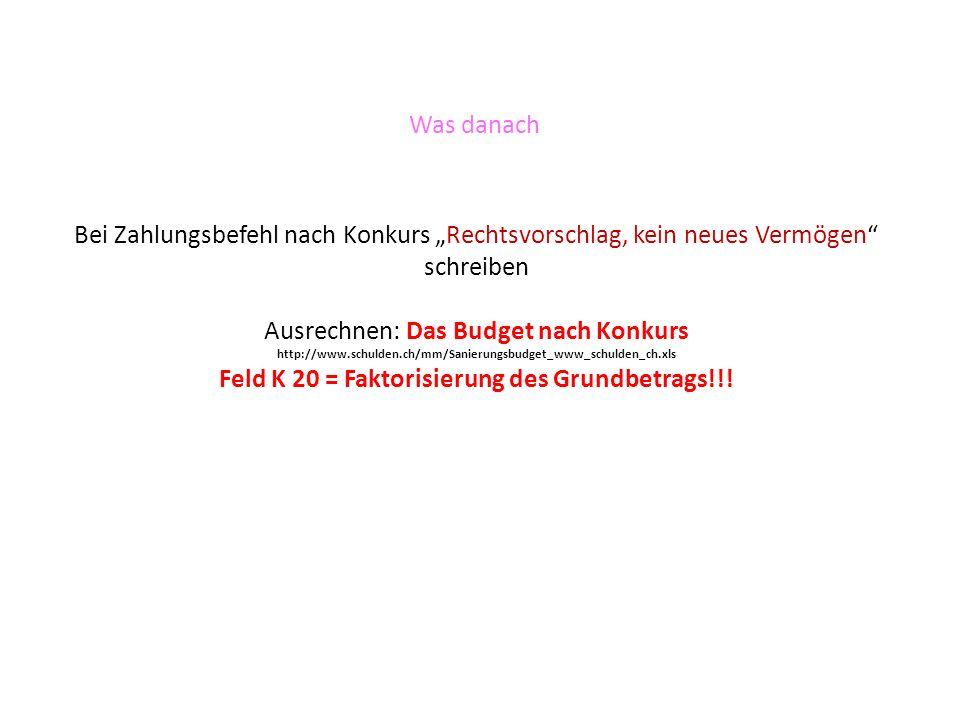 Was danach Bei Zahlungsbefehl nach Konkurs Rechtsvorschlag, kein neues Vermögen schreiben Ausrechnen: Das Budget nach Konkurs http://www.schulden.ch/m