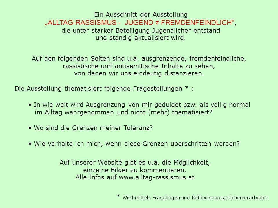 Ein Ausschnitt der Ausstellung ALLTAG-RASSISMUS - JUGEND FREMDENFEINDLICH, die unter starker Beteiligung Jugendlicher entstand und ständig aktualisier