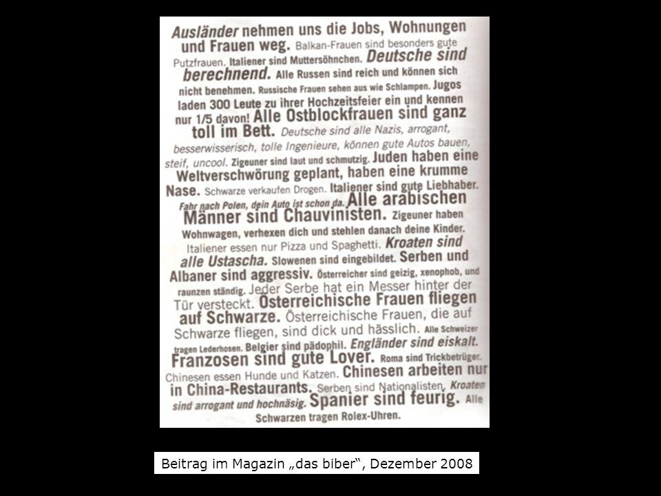 Beitrag im Magazin das biber, Dezember 2008