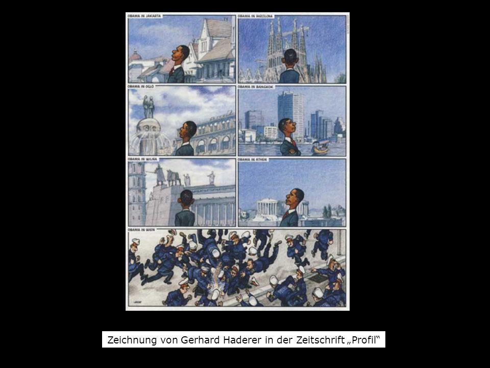 Zeichnung von Gerhard Haderer in der Zeitschrift Profil