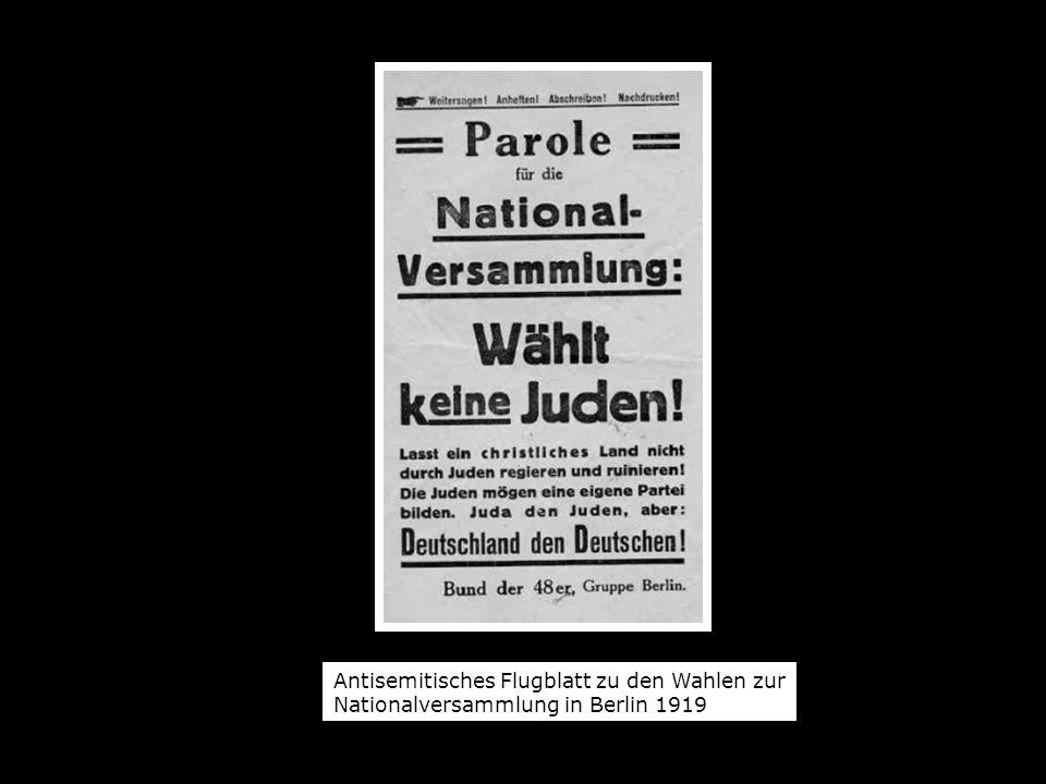 Antisemitisches Flugblatt zu den Wahlen zur Nationalversammlung in Berlin 1919