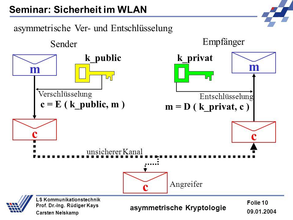 Seminar: Sicherheit im WLAN 09.01.2004 Folie 10 LS Kommunikationstechnik Prof. Dr.-Ing. Rüdiger Kays Carsten Nelskamp asymmetrische Kryptologie asymme