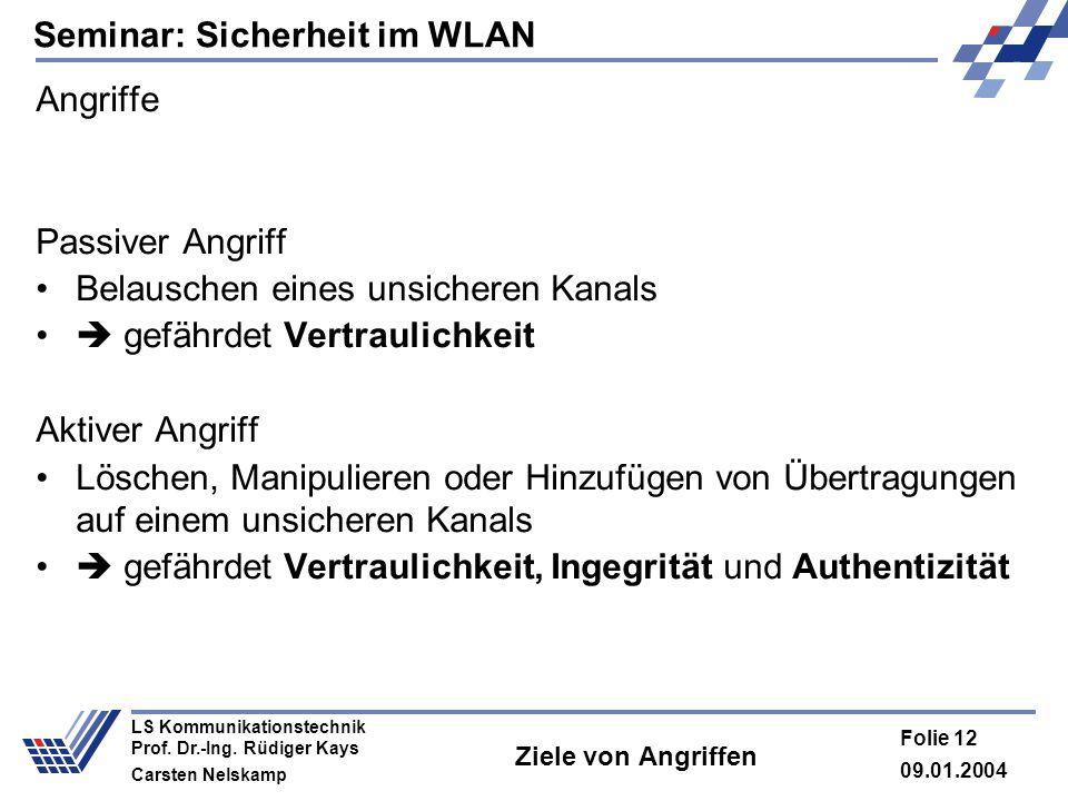 Seminar: Sicherheit im WLAN 09.01.2004 Folie 12 LS Kommunikationstechnik Prof. Dr.-Ing. Rüdiger Kays Carsten Nelskamp Ziele von Angriffen Angriffe Pas