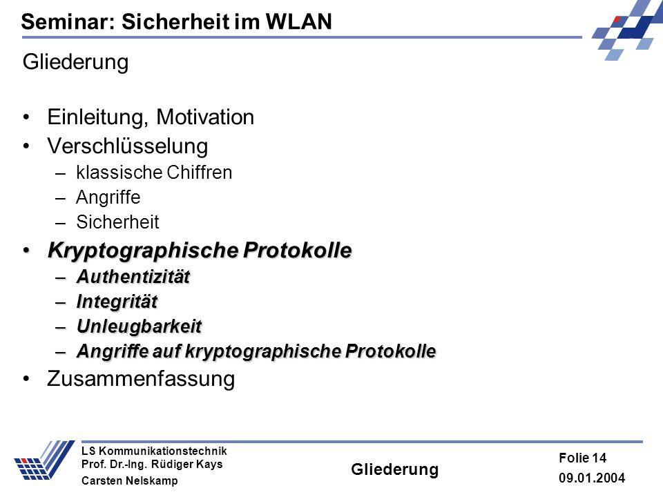 Seminar: Sicherheit im WLAN 09.01.2004 Folie 14 LS Kommunikationstechnik Prof. Dr.-Ing. Rüdiger Kays Carsten Nelskamp Gliederung Einleitung, Motivatio