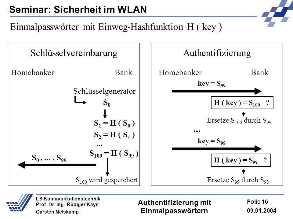 Seminar: Sicherheit im WLAN 09.01.2004 Folie 16 LS Kommunikationstechnik Prof. Dr.-Ing. Rüdiger Kays Carsten Nelskamp Authentifizierung mit Einmalpass