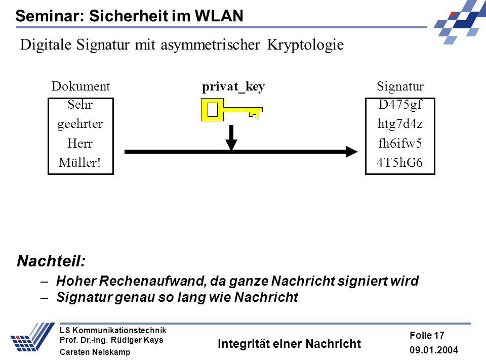 Seminar: Sicherheit im WLAN 09.01.2004 Folie 17 LS Kommunikationstechnik Prof. Dr.-Ing. Rüdiger Kays Carsten Nelskamp Integrität einer Nachricht Nacht