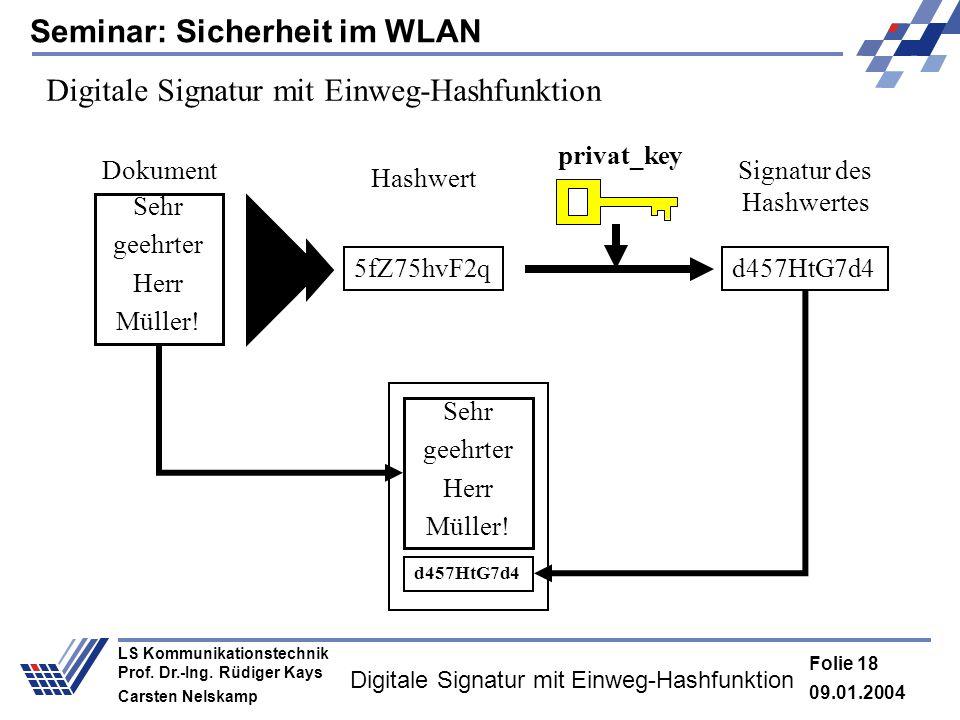 Seminar: Sicherheit im WLAN 09.01.2004 Folie 18 LS Kommunikationstechnik Prof. Dr.-Ing. Rüdiger Kays Carsten Nelskamp Digitale Signatur mit Einweg-Has