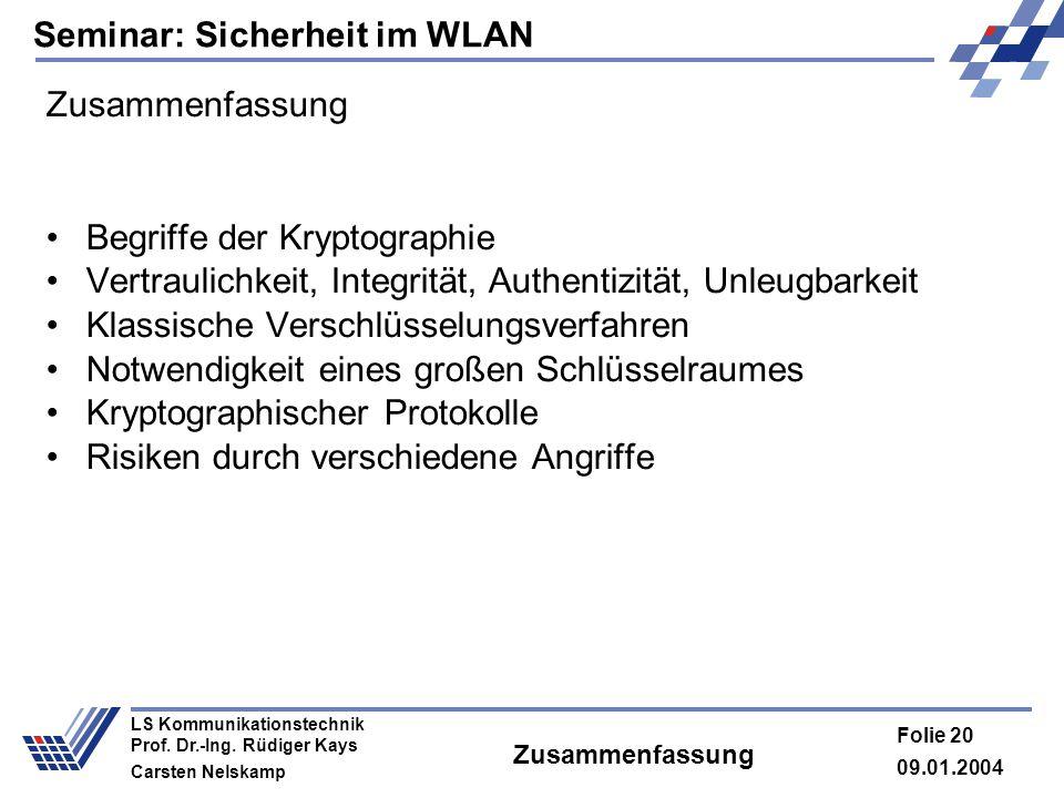 Seminar: Sicherheit im WLAN 09.01.2004 Folie 20 LS Kommunikationstechnik Prof. Dr.-Ing. Rüdiger Kays Carsten Nelskamp Zusammenfassung Begriffe der Kry