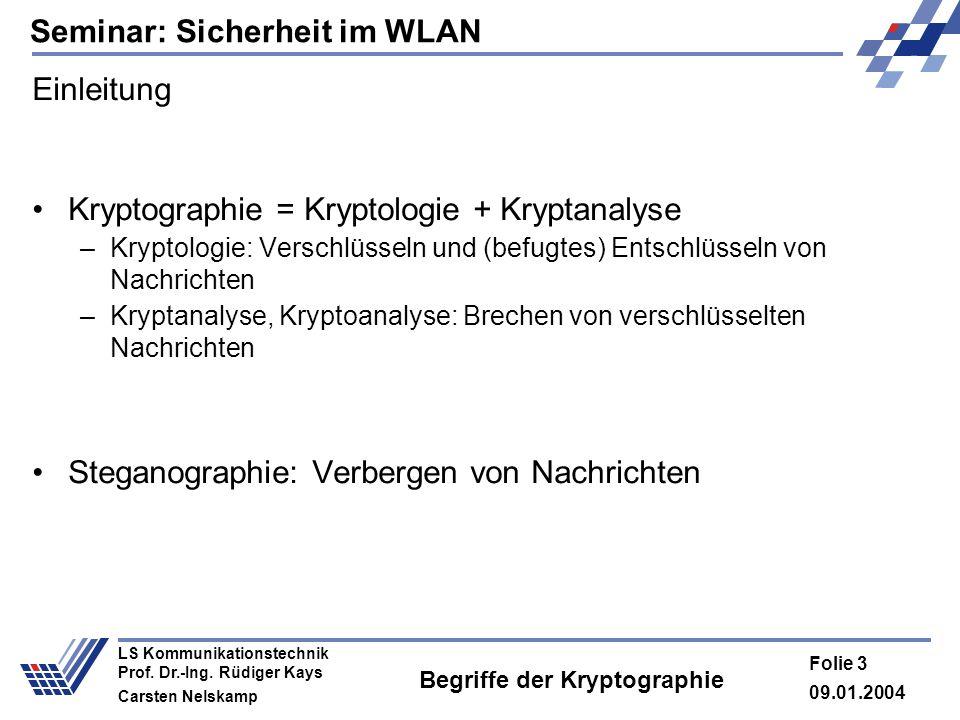 Seminar: Sicherheit im WLAN 09.01.2004 Folie 3 LS Kommunikationstechnik Prof. Dr.-Ing. Rüdiger Kays Carsten Nelskamp Begriffe der Kryptographie Einlei