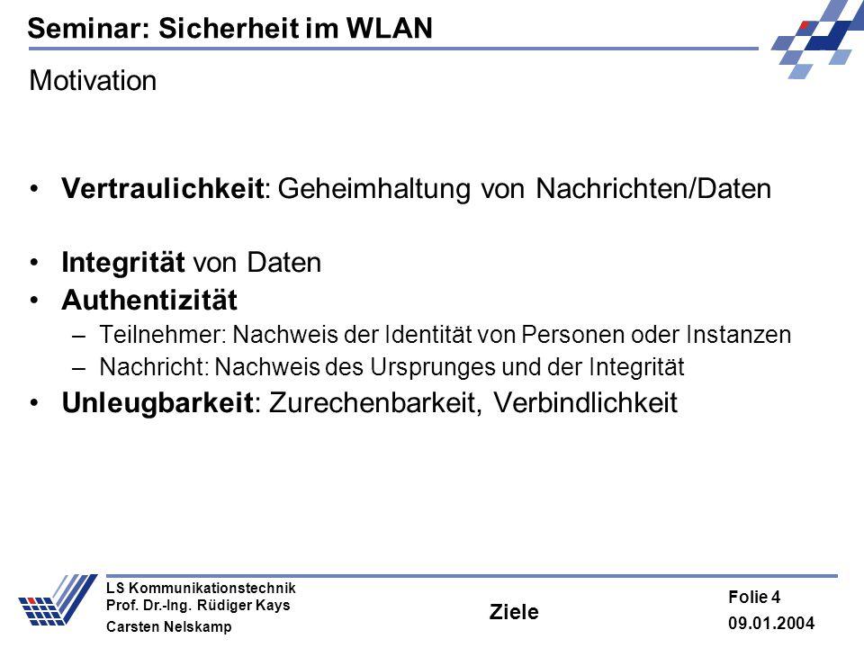Seminar: Sicherheit im WLAN 09.01.2004 Folie 4 LS Kommunikationstechnik Prof. Dr.-Ing. Rüdiger Kays Carsten Nelskamp Ziele Motivation Vertraulichkeit: